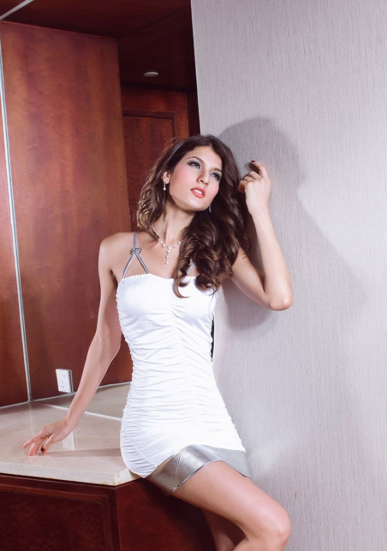 RUCHED WHITE MINI DRESS